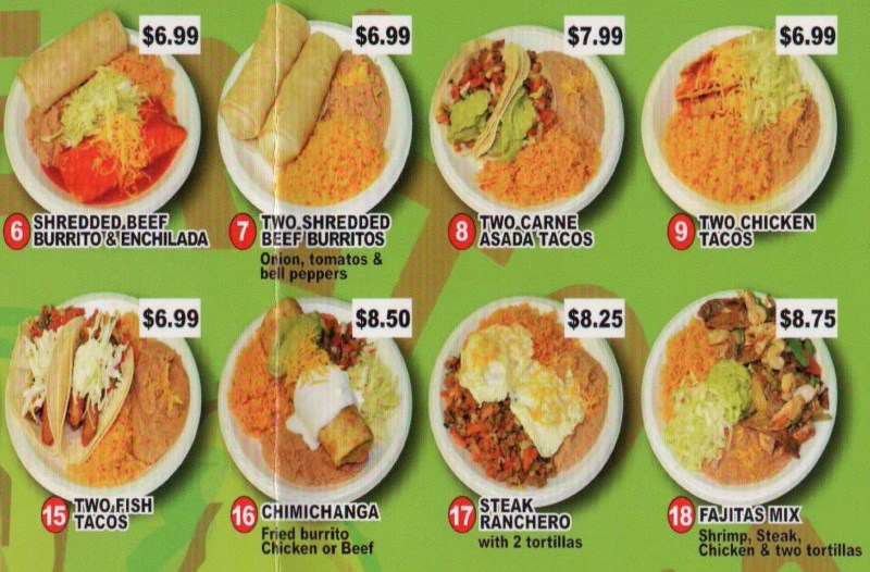 Rancherito's Mexican Food  menu - more combinations