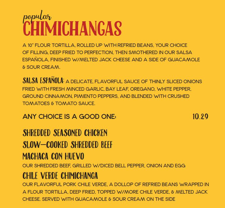 Red Iguana menu - chimichangas
