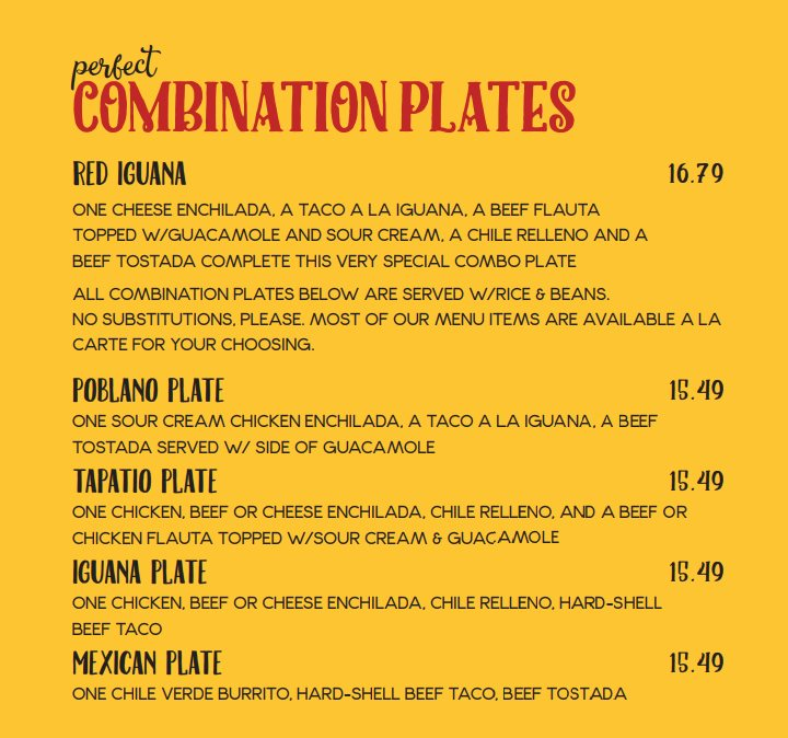 Red Iguana menu - combination plates