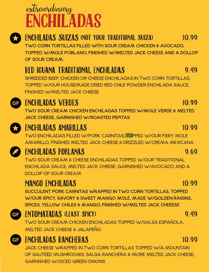 Red Iguana menu - extraordinary enchiladas