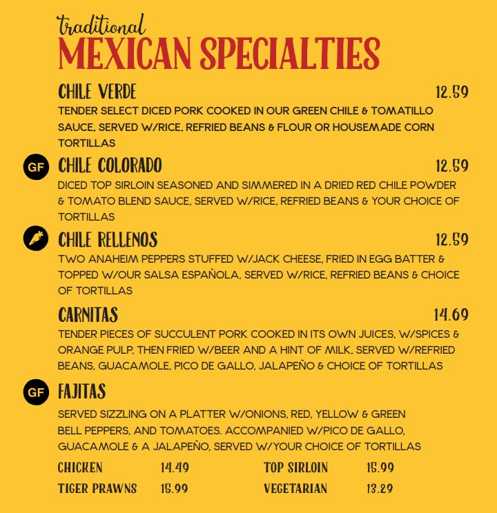Red Iguana menu - traditional Mexican specialties