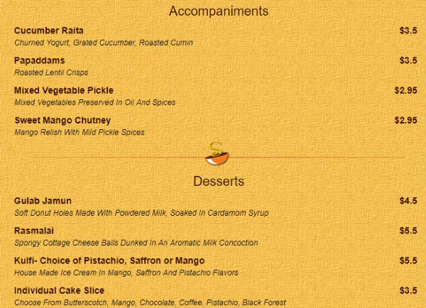 Saffron Valley Sugar House menu - acompaniments, dessert