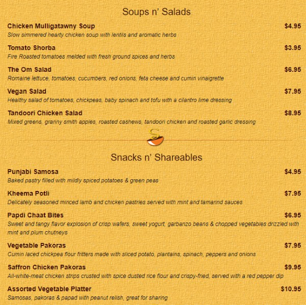 Saffron Valley Sugar House menu - soups, salads, appetizers