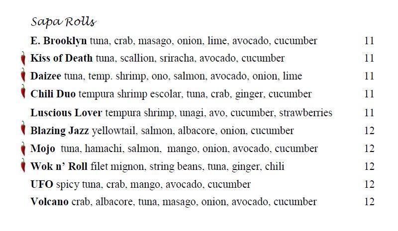 Sapa menu - specialty rolls