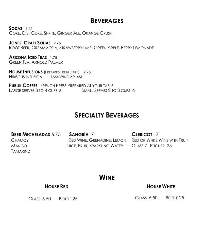The Eklektik menu - beverages