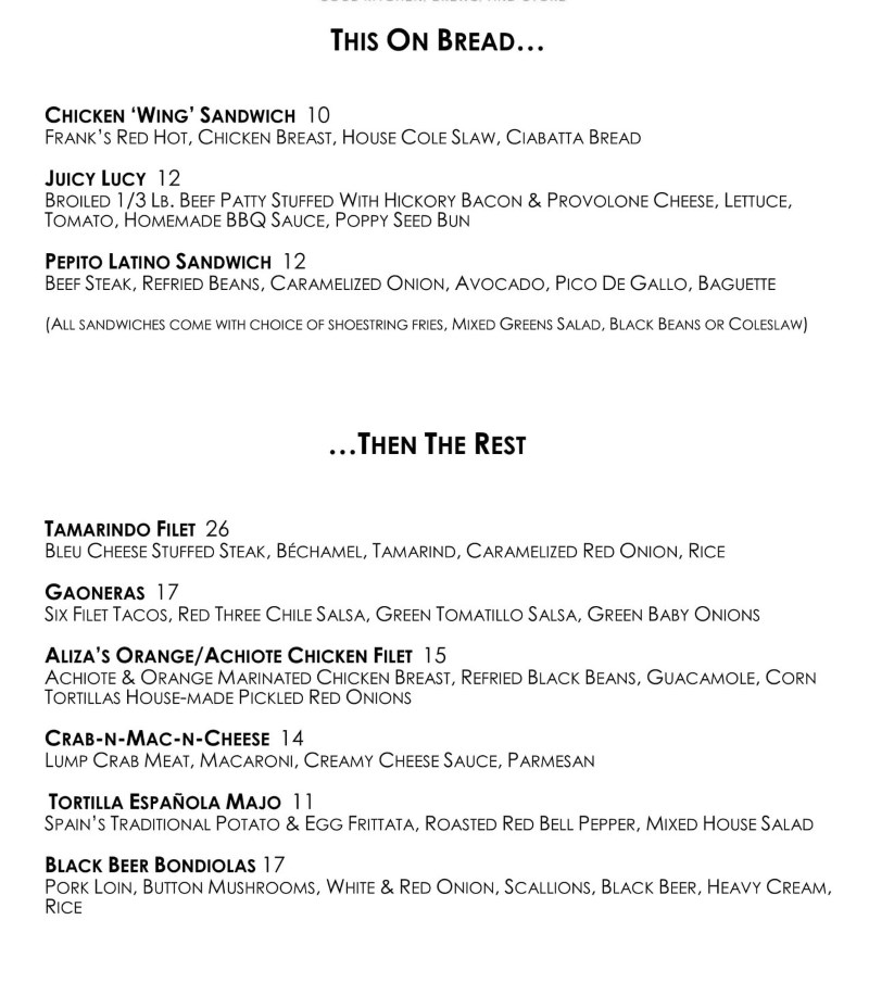 The Eklektik menu - sandwiches and entrees