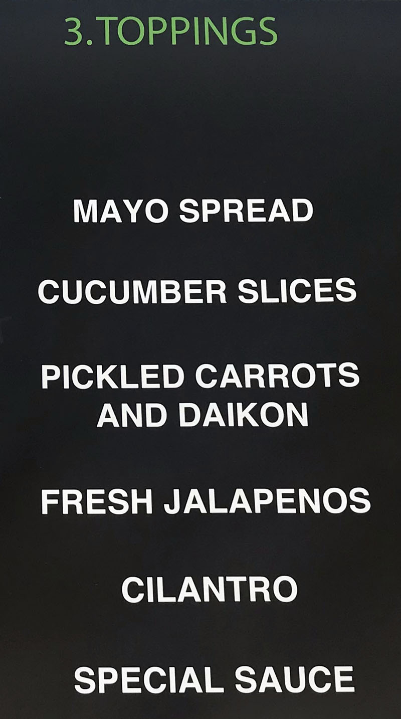 Banh Mi Time food truck menu - toppings