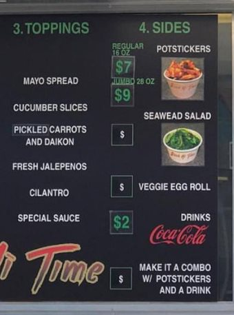 Banh Mi Time menu - select toppings and sides