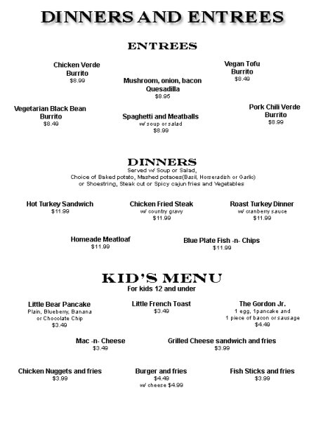 Blue Plate Diner menu - dinners and entrees