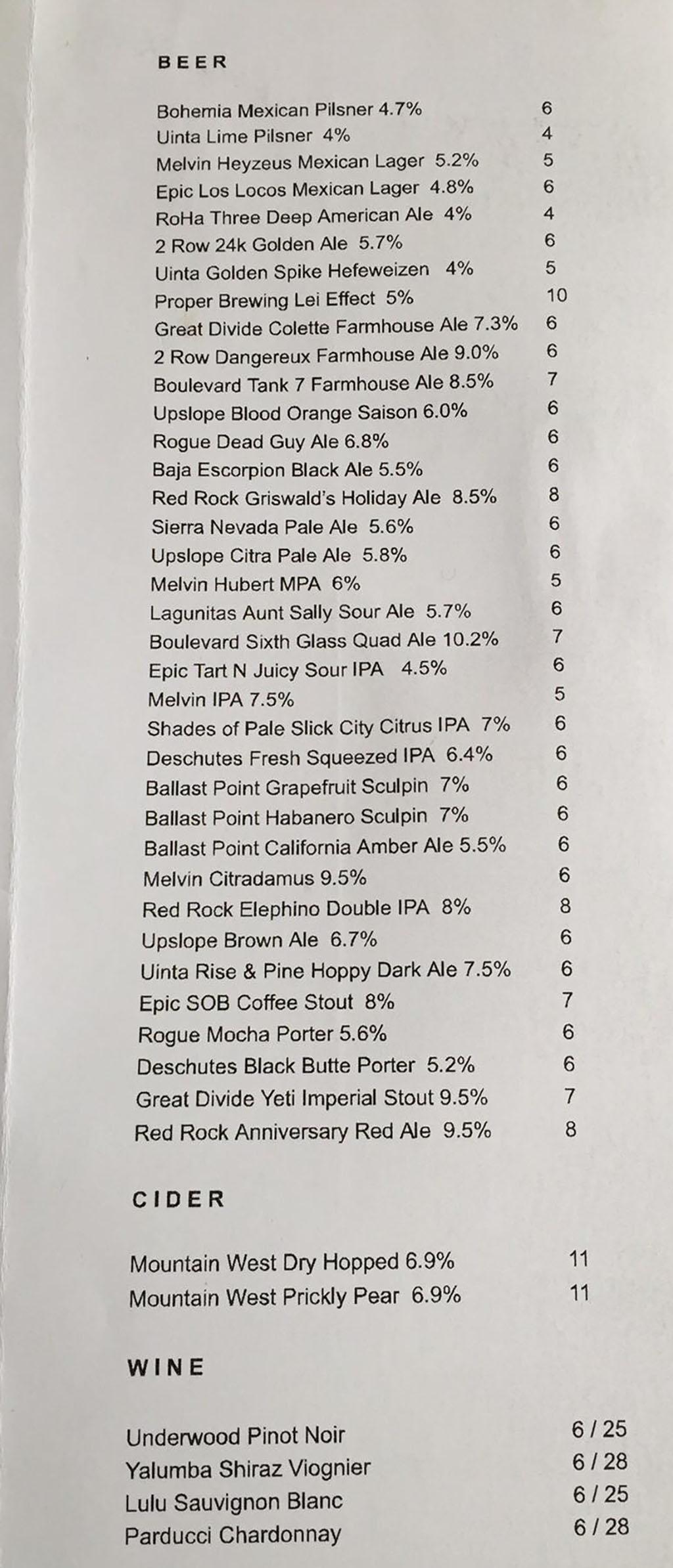 Boltcutter beer cider and wine menu 2018