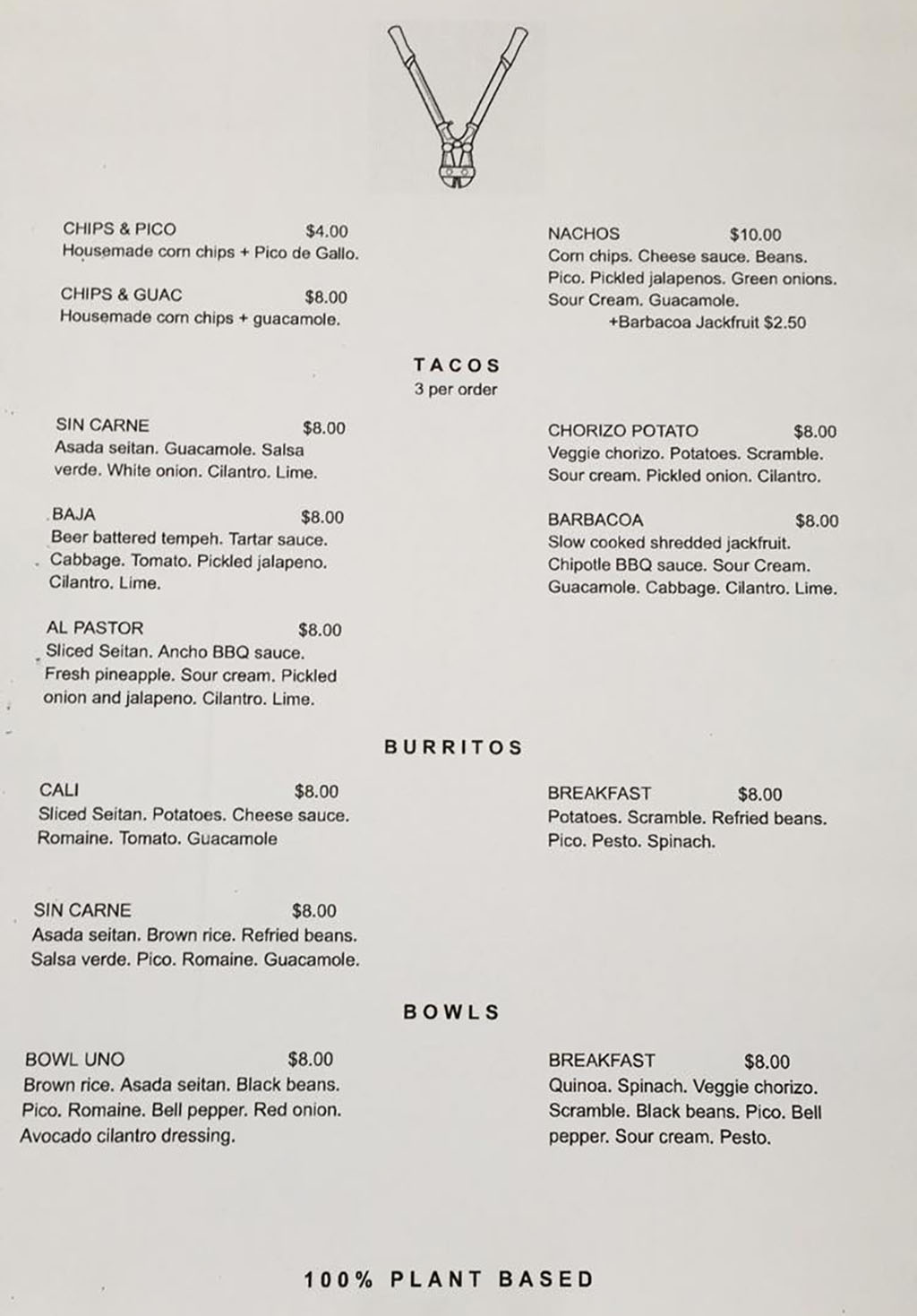 Boltcutter lunch menu 2018