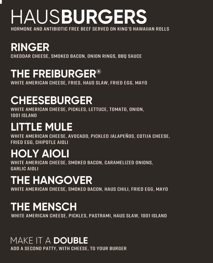 Dog Haus Sandy menu - haus burgers