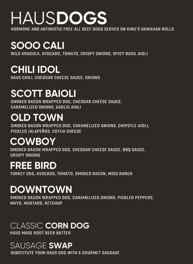 Dog Haus Sandy menu - haus dogs