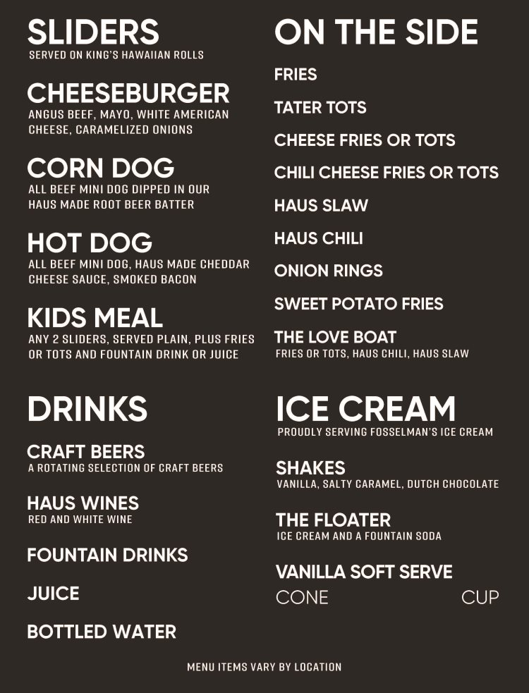 Dog Haus Sandy menu - sliders, sides, drinks, ice cream