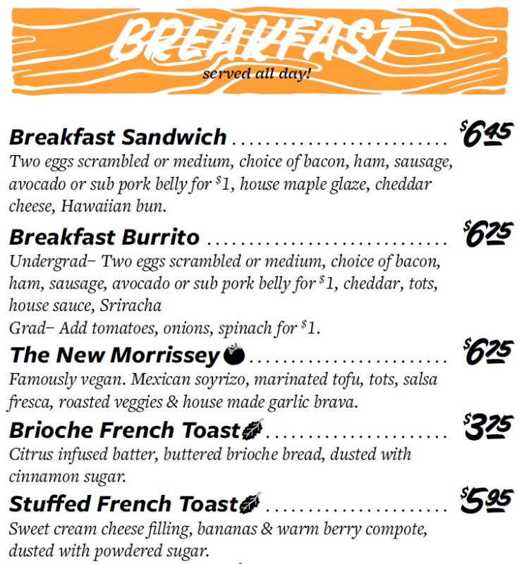 Even Stevens menu - all day breakfast