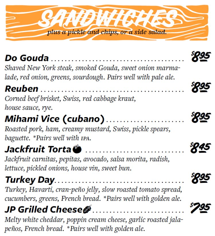 Even Stevens menu - sandwiches