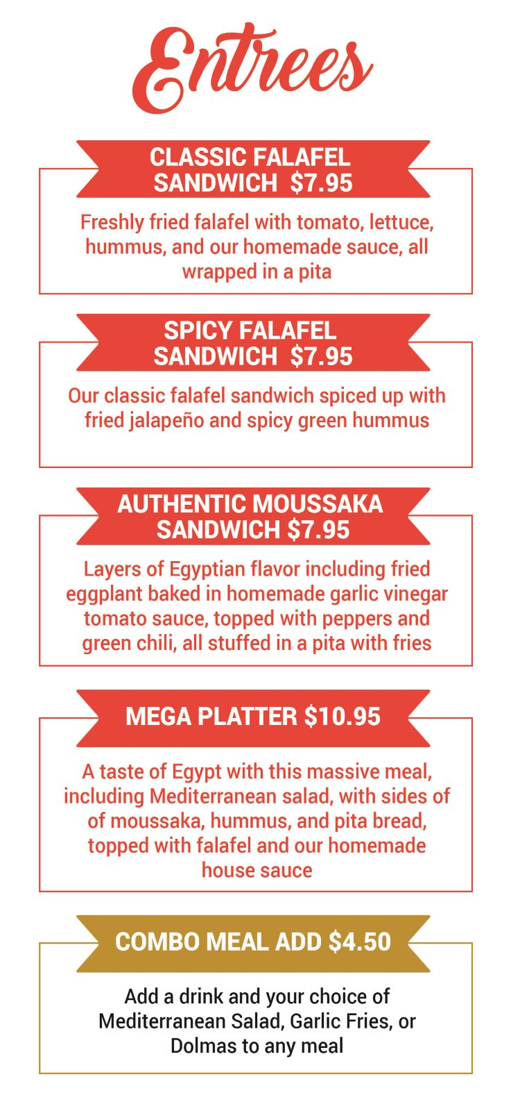 Falafel Tree menu - falafel and sandwich
