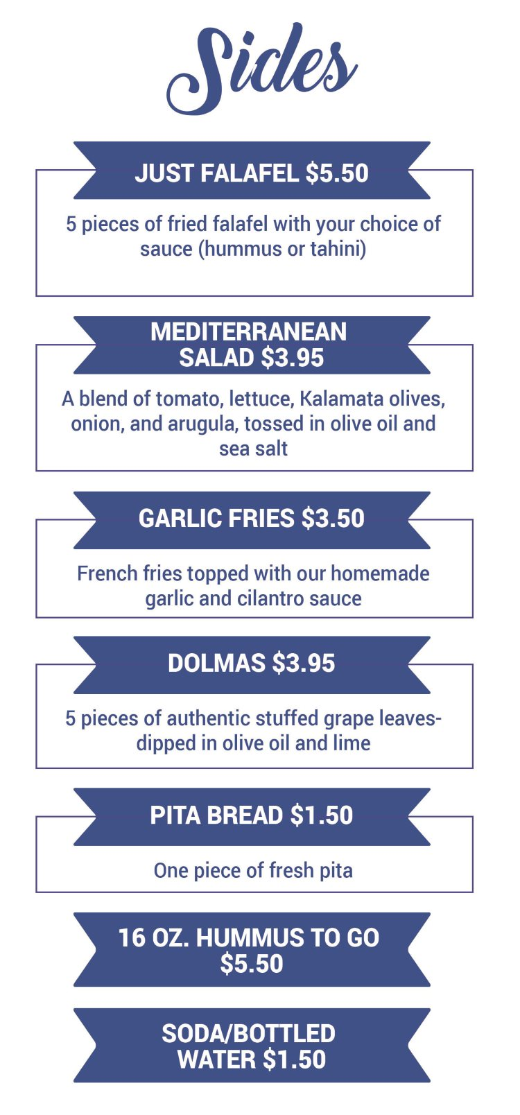 Falafel Tree menu - sides