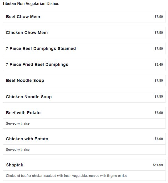 House Of Tibet menu - non vegetarian dishes
