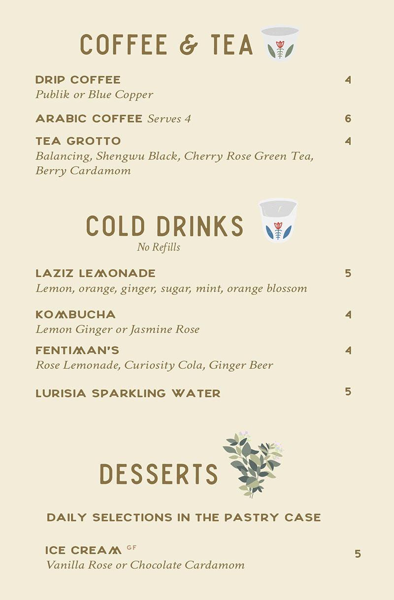 Laziz Kitchen dinner menu - drinks, desserts