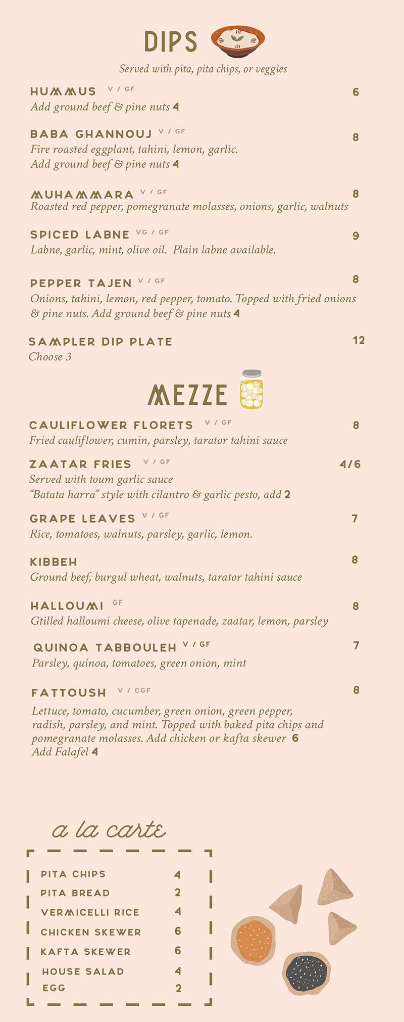 Laziz Kitchen lunch menu - dips, mezze
