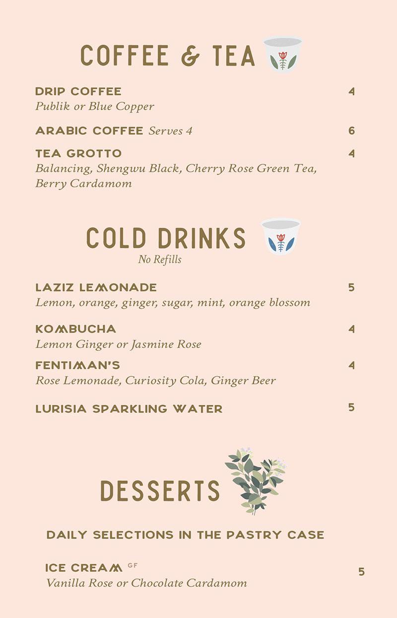 Laziz Kitchen lunch menu - drinks, desserts