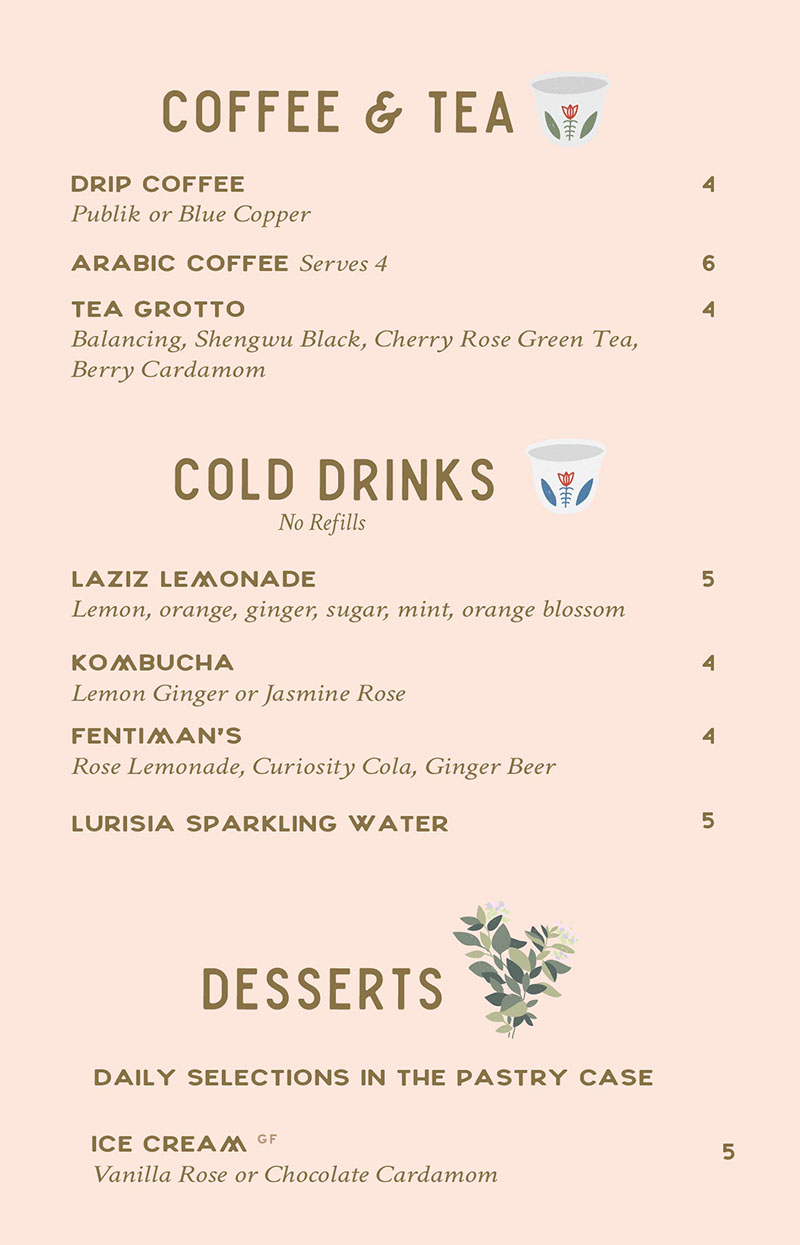 Laziz Kitchen lunch menu - drinks, desserts - SLC menu