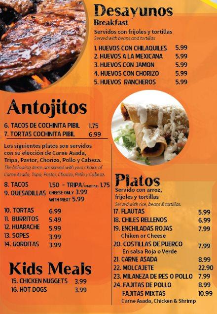 Los Molcajetes menu - desayunos, antojitos, platos