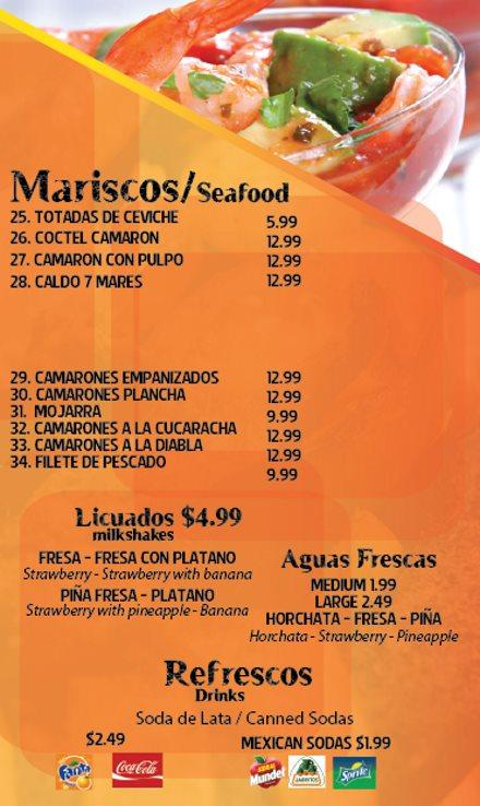 Los Molcajetes menu - mariscos, licuados