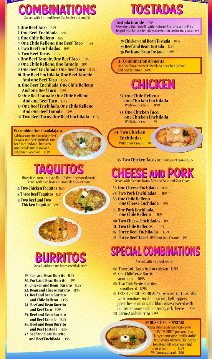 Mi Ranchito Grill menu - combinations, taquitos, tostadas, burritos