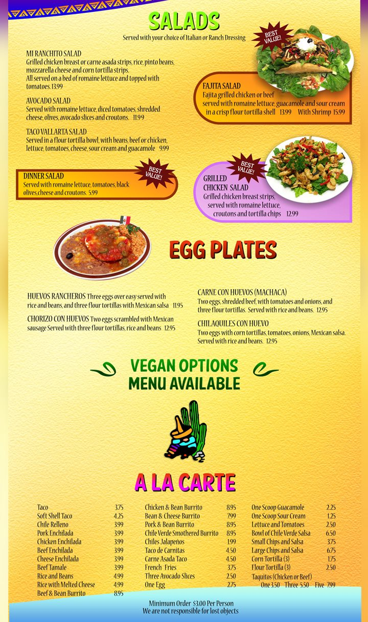 Mi Ranchito Grill menu - salads, egg dishes, ala carte