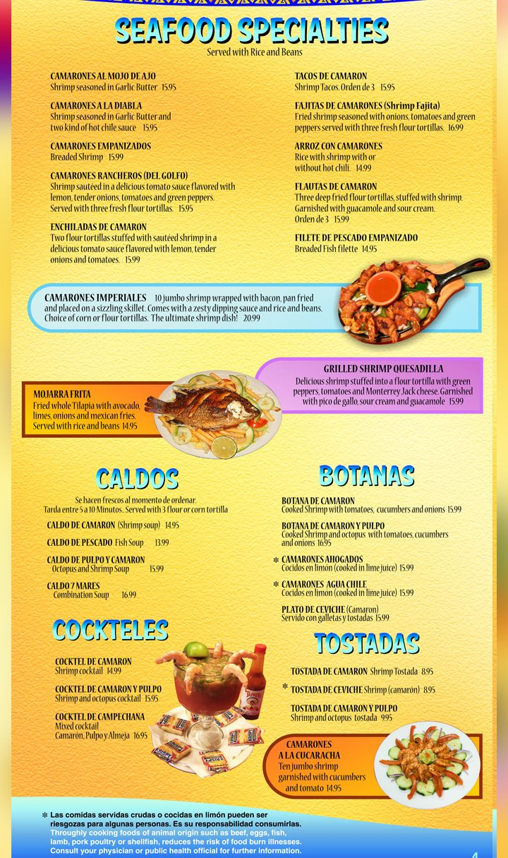 Mi Ranchito Grill menu - seafood