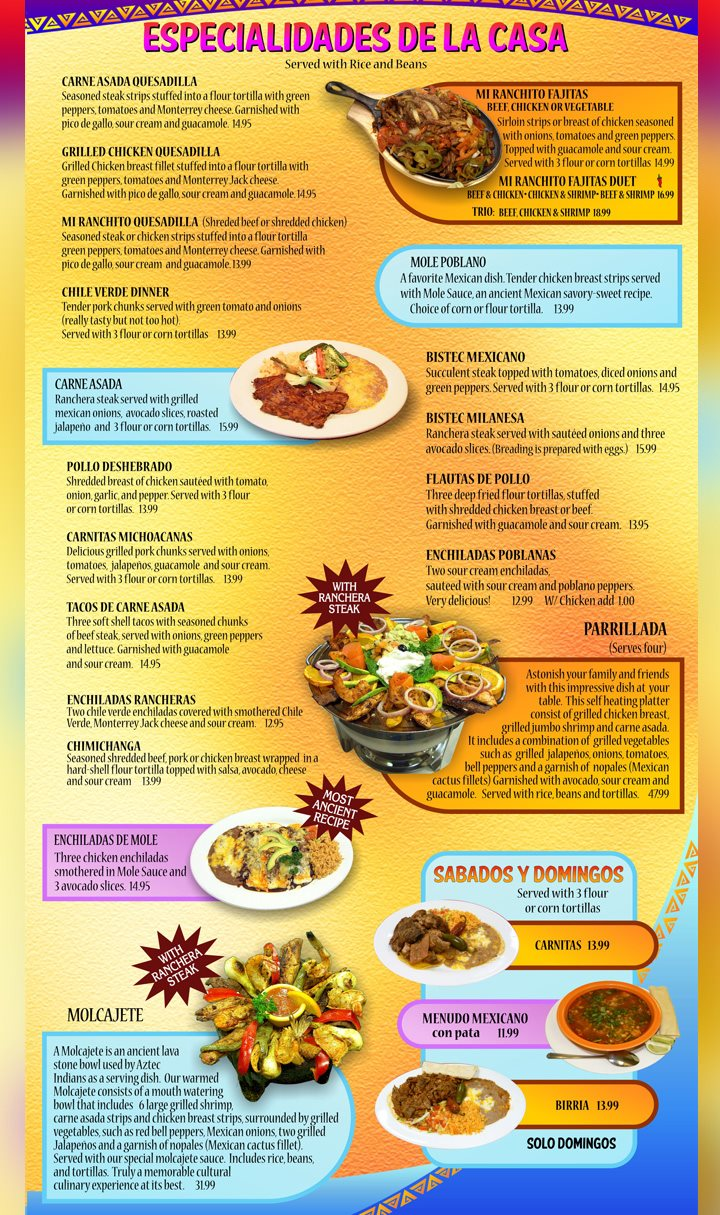 Mi Ranchito Grill menu - specials