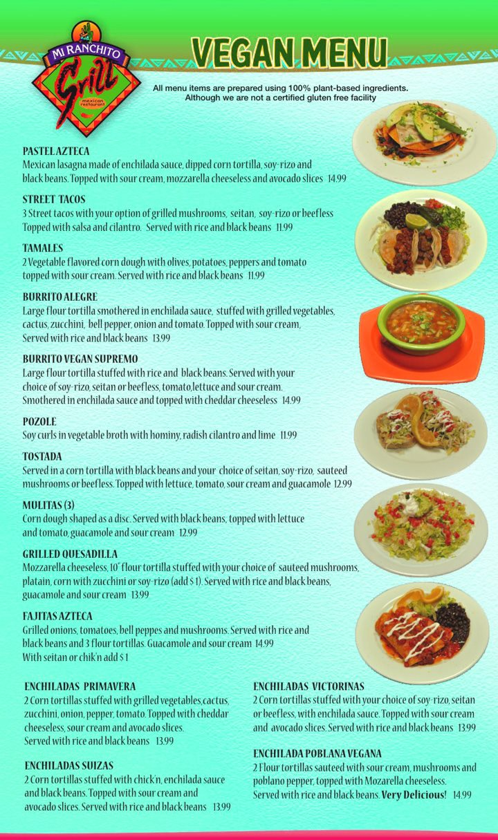 Mi Ranchito Grill menu - vegan options