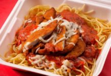 Moochie's Meatballs And More menu - chicken parmigiana. Credit Moochies.