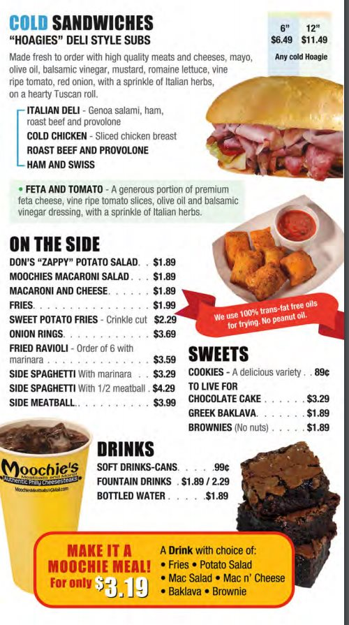 Moochie's Meatballs And More menu - cold sandwiches, sides, sweets and drinks