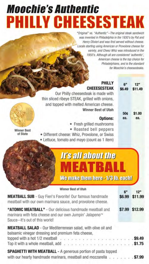 Moochie's Meatballs And More menu - philly cheesesteak and meatballs