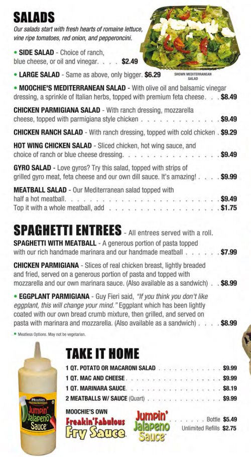 Moochie's Meatballs And More menu - salads and spaghetti entrees