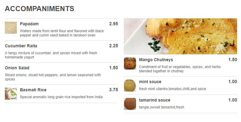 Tadka Indian Restaurant menu - accompaniments