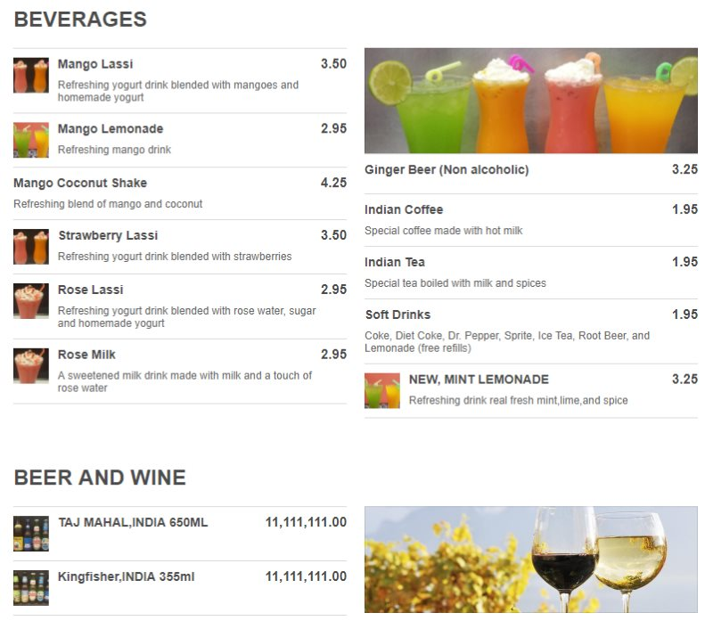 Tadka Indian Restaurant menu - beverages