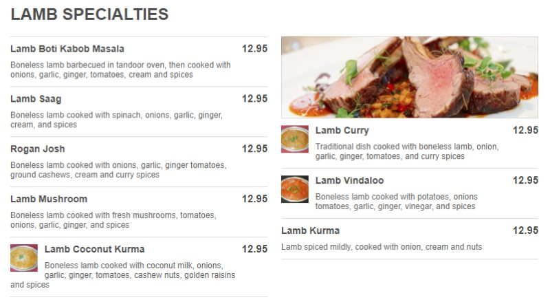 Tadka Indian Restaurant menu - lamb specialties