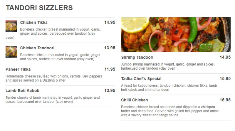 Tadka Indian Restaurant menu - tandoori sizzlers