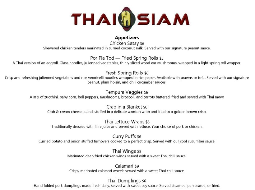 Thai Siam dinner menu - appetizers