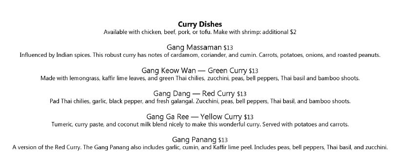 Thai Siam dinner menu - curry dishes