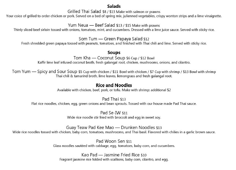 Thai Siam dinner menu - salads, soups, rice and noodles