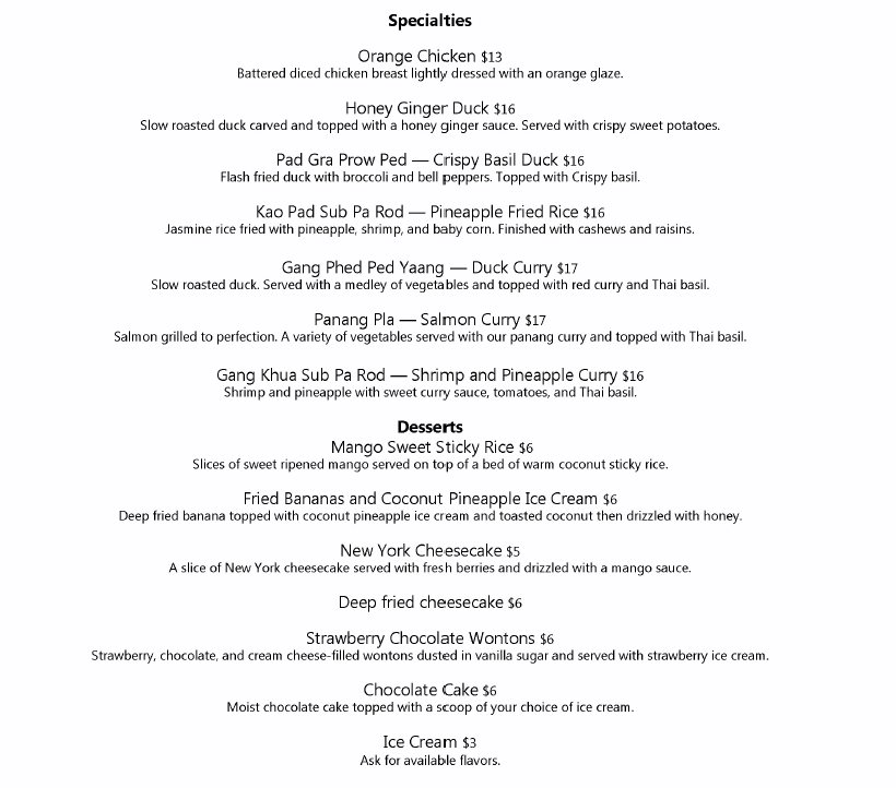 Thai Siam dinner menu - specialties and desserts