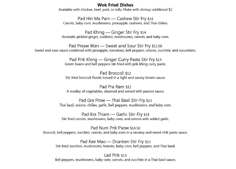 Thai Siam dinner menu - wok fried dishes