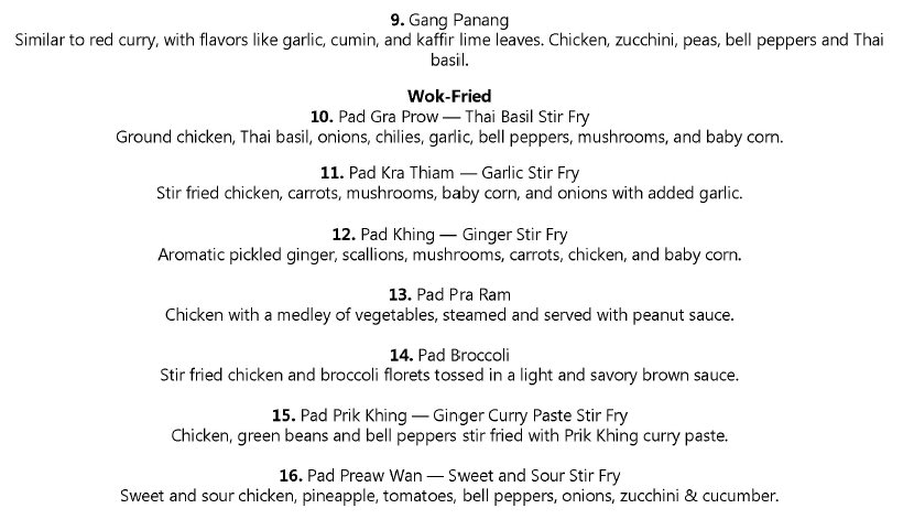 Thai Siam lunch menu - additional lunch combos