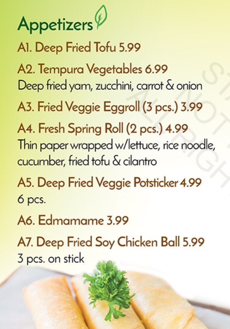 Veggie House menu - appetizers