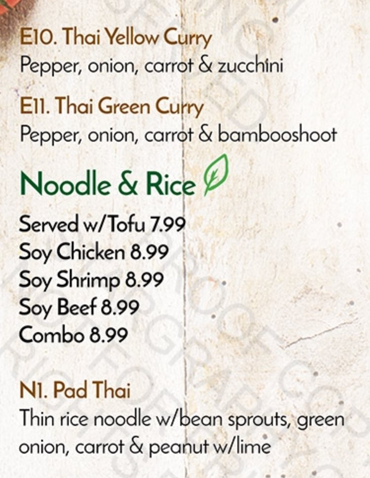 Veggie House menu - entrees, noodles and rice